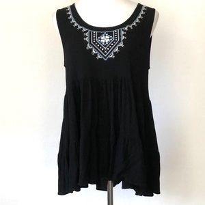 Kane Embroidered Tiered Gauze Ruffle Top